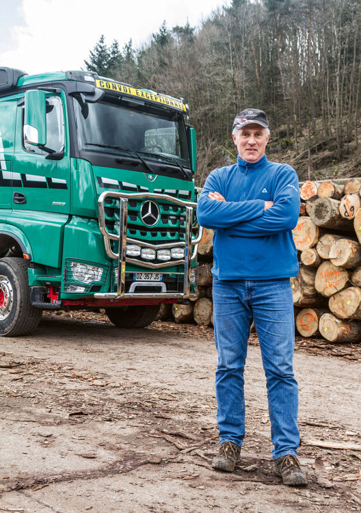 Pierre Geyer has been transporting wood for 25 years.
