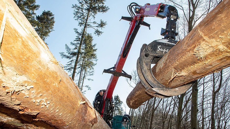 Efficient combination: Maier uses the Loglift crane to unload the piggy-back Doll trailer before lifting spruce logs weighing up to two tonnes and measuring 20 metres in length onto the vehicle.