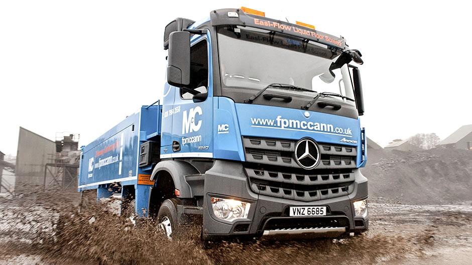 Mercedes benz arocs makes a splash with fp mccann roadstars for Mercedes benz dealer services