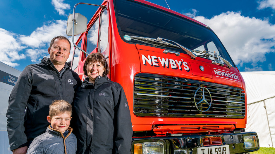 Dominic, Tracy & Edward Newby and their classic Mercedes-Benz truck - runners-up in the Mercedes-Benz Truckfest display competition.