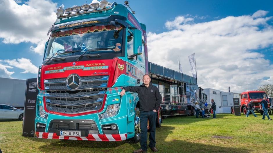 Allan Holt and his Pollock Scotrans Actros - winner of the Mercedes-Benz Truckfest display competition.